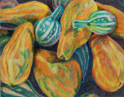 Janet Felts Drawings Metal Prints - Gourds for Sale Metal Print by Janet Felts