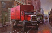 Streetscene Paintings - GPO Scammell rigid 6 by Mike  Jeffries