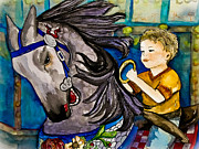 Carousel Horse Painting Framed Prints - Grab the Brass Ring Framed Print by Colleen Kammerer