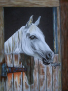 Riding Pastels - Grace at the stable door by Yvonne Johnstone