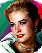 Movie Stars Painting Prints - Grace Kelly Print by Allen Glass