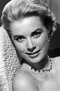 Kelly Framed Prints - Grace Kelly Framed Print by Sanely Great