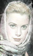 Kelly Mixed Media Framed Prints - Grace Kelly Framed Print by Michael Knight