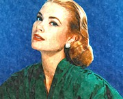 Kelly Photo Framed Prints - Grace Kelly Painting Framed Print by Sanely Great