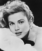 Grace Framed Prints - Grace Kelly Portrait Framed Print by Sanely Great