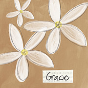 Motivational Mixed Media Prints - Grace Print by Linda Woods