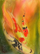 Koi Fish Painting Posters - Grace Poster by Robert Hooper