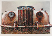 Vintage Hood Ornament Painting Framed Prints - Grace - Rolls Royce Framed Print by Blue Sky