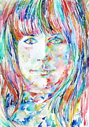 Watercolor Society Prints - Grace Slick Print by Fabrizio Cassetta