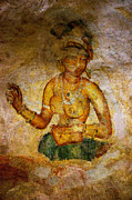 Ceylon Prints - Graceful Absara. Sigiriya Cave Painting Print by Jenny Rainbow