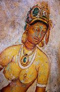 Fresco Framed Prints - Graceful Apsara. Sigiriya Cave Painting Framed Print by Jenny Rainbow