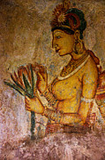 Ceylon Prints - Graceful Apsara with Lotus. Sigiriya Cave Painting Print by Jenny Rainbow