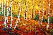 Gold Lime Green Art - Graceful Birch Trees by Connie Tom