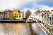 Winter Travel Photo Posters - Graceful HaPenny Bridge Over River Liffey Poster by Mark E Tisdale