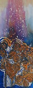 Vibrant Tapestries - Textiles Prints - Graceful Wild Orchids in Blue/Orange Print by Beena Samuel