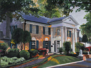 Kinkade Painting Posters - Graceland Home of Elvis Poster by Cecilia  Brendel