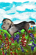 Mutts Digital Art - Gracie in the Field by Mary C Wells