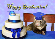 Ferret Digital Art - Graduation Ferret by Jeanette K