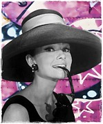 Audrey Hepburn Photos - Graffiti - Audrey Hepburn - The Hat by Graffiti Girl