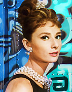Audrey Hepburn Photos - Graffiti - Breakfast At Tiffanys by Graffiti Girl