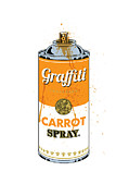 Pop Can Framed Prints - Graffiti Carrot Spray Can Framed Print by Gary Grayson