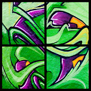 Urban Art Photos - Graffiti in Green by Art Block Collections