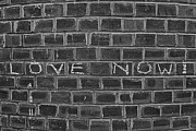 Love Reliefs Posters - Graffiti on Curved Brick Wall Poster by Robert Ullmann
