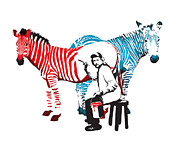 Sassan Filsoof Prints - Graffiti print of Rembrandt painting stripes Zebra painter Print by Sassan Filsoof