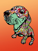 Dachshund Puppy Digital Art Posters - Graffiti puppy Poster by R L Nielsen