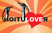 Sassan Filsoof Posters - Graffiti style illustration slogan Love Revolution Poster by Sassan Filsoof