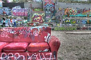 Lounge Posters - Grafitti Couch Poster by Jane Linders