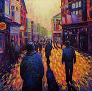 Night Scene Painting Prints - Grafton Street Dublin Print by John  Nolan