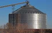 Bluesky Framed Prints - Grain Bin with Bluesky Framed Print by Robert D  Brozek