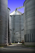 Storage Mixed Media Prints - Grain Bins Print by E B Schmidt