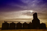 Montana Sky Framed Prints - Grain Bins In Reserve Montana Framed Print by Jeff  Swan