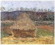 Harvest Art Posters - Grainstack at Giverny Poster by Claude Monet