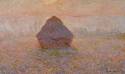 Mist Painting Posters - Grainstack  Sun in the Mist Poster by Claude Monet