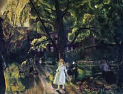 Park Scene Painting Metal Prints - Gramercy Park Metal Print by George Wesley Bellows