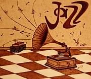 Gramophone Playing Jazz Music Painting With Coffee Print by Georgeta  Blanaru