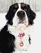 Snow Storm Paintings - Grand Berner Girl by Liane Weyers