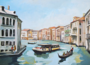 Gondola Mixed Media Framed Prints - Grand Canal 2 Framed Print by Filip Mihail