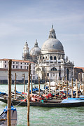 Historical Buildings Posters - Grand Canal and Santa Maria della Salute Basilica Poster by Gabriela Insuratelu