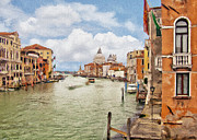 Green Boat Prints - Grand Canal Apartment Print by Sharon Foster