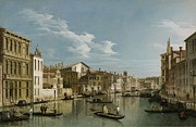 Figures Painting Posters - Grand Canal from Palazzo Flangini to Palazzo Bembo Poster by Canaletto