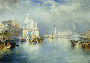 Docked Boats Painting Posters - Grand Canal Venice Poster by Thomas Moran