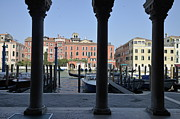 Tourist Destinations Prints - Grand canal viewed through columns Print by Sami Sarkis