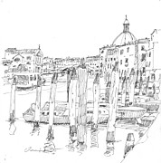 Drawing Painting Originals - Grand Canal with docking poles by Owen Hunt
