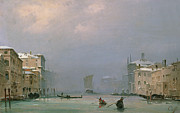 Grand Canal Paintings - Grand Canal with Snow and Ice by Ippolito Caffi