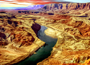 Lapin Framed Prints - Grand Canyon Lees Ferry Painting Framed Print by Nadine and Bob Johnston