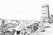 Destinations Digital Art Posters - Grand Canyon National Park Mary Colter Designed Desert View Watchtower Black and White Line Art Poster by Shawn OBrien
